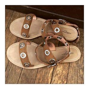 Halogen Brown Suede Grommet Sandals